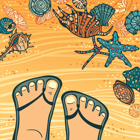 flipflops: Vecor tropical illustration with cartoon foot in flip-flops and colored seashells and starfishes on a yellow beaches.