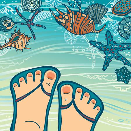 flipflops: Cartoon foot in blue flip-flops and seashells with starfish on a beach. Summer travel vector illustration.