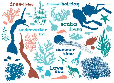 水中の生き物、海藻、ダイバーのセットです。