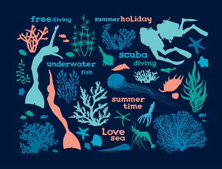 free diver: Set of underwater creatures, corals and silhouette of scuba and free divers.