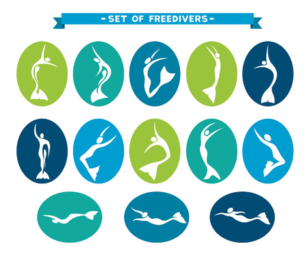 free diver: Icon set with silhouette of free divers in monofin. Freediving vector illustration.