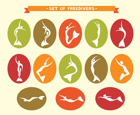 freediving: Freediving collection. Vector illustration -icon set with silhouette of freedivers in monofin.