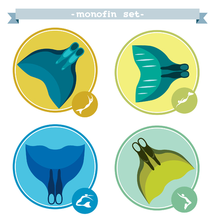 freediving: Vector set of different monofins for freediving. Collection of freediving icons on a white background.