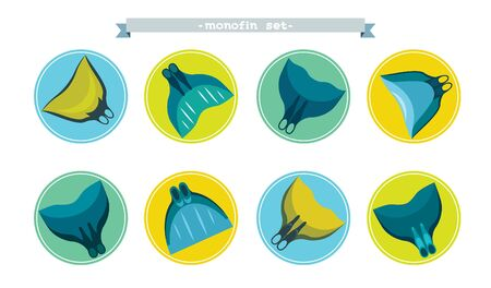 freediver: Collection of freediving icons on a white background. Vector set of different monofins. Equipment of freediving.