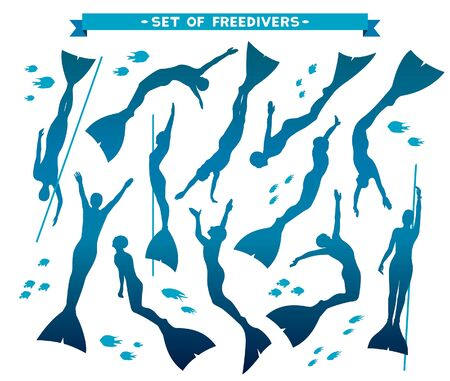 free diver: Vector set with isolated silhouette of freedivers in monofin. Illustration