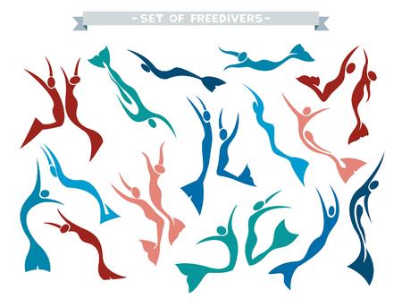 白い背景にモノフィンで freedivers の分離シルエット ベクトル コレクションです。フリーダイバーのポーズを別に設定します。 写真素材 - 52916884