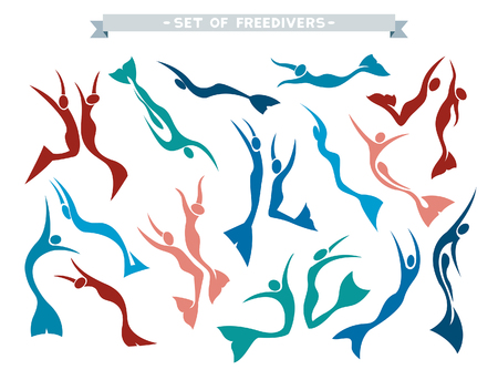 free diver: Vector collection with isolated silhouette of freedivers in monofin on a white background. Set with different pose of free divers. Illustration