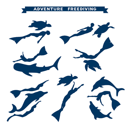 free diver: Adventure freediving. Vector collection with silhouette of free divers, dolphins, turtles and whale shark.