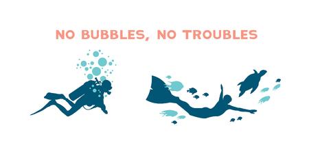 picada: ilustración vectorial bajo el agua - buzo con las burbujas y buceador con la tortuga. Diferencia entre la escafandra autónoma y libre de buzo. No hay burbujas, no hay problemas.