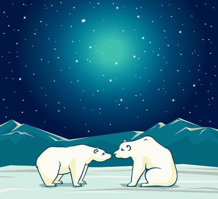 Twee cartoon ijsberen en nacht sterrenhemel. Vector arctische natuur illustratie.