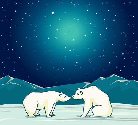 Two cartoon polar bears and night starry sky. Vector arctic nature illustration. Ilustrace