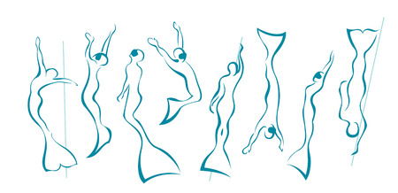 Silhouette with different pose of free divers in monofin. Vector freediving icons on a white background.