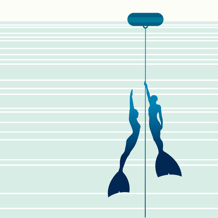 buoy: Silhouette of couple free diver in monofin with rope and buoy on a blue background. Illustration