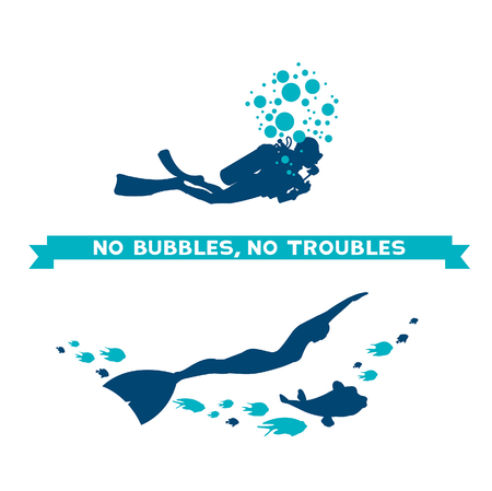 between: Difference between scuba and free diver. Underwater vector illustration - scuba diver with bubbles and freediver with fish. No bubbles, no troubles. Illustration