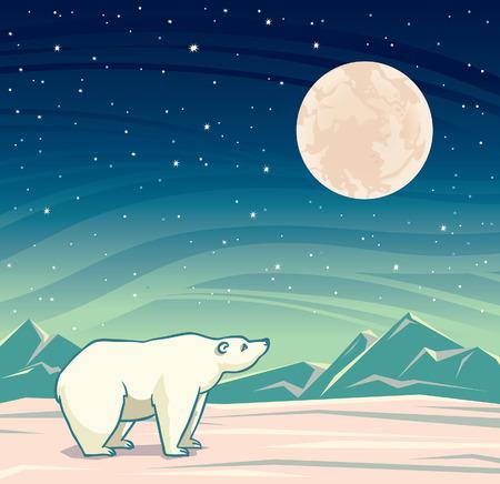 Cartoon polar bear looking at the big full moon on a night starry sky. Vector arctic nature illustration.