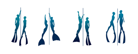Vector set with silhouette of free divers and rope. Couple of isolated freedivers.