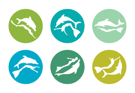 free diver: Freediving color icons - friendship between people and dolphin. Vector collection of silhouette freedivers and dolphins. Illustration