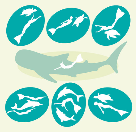 whale shark: Vector collection with silhouette of free divers, dolphins, turtles and whale shark. Adventure freediving icons. Illustration