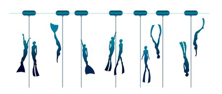 Vector illustration with set of free divers. Silhouette of couple freedivers and rope with buoy.