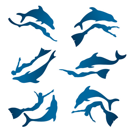 Vector collection of isolated silhouette free diver and dolphin. Freediving icons - friendship between people and dolphin. Illustration