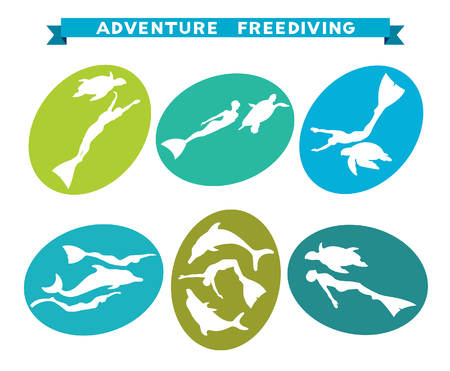 freediving: Adventure freediving icons. Vector collection with silhouette of free divers, dolphins and turtles.