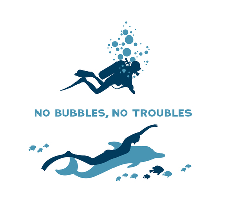 freediver: Difference between scuba and free diver. Underwater vector illustration - scuba diver with bubbles and freediver with dolphin. No bubbles, no troubles.