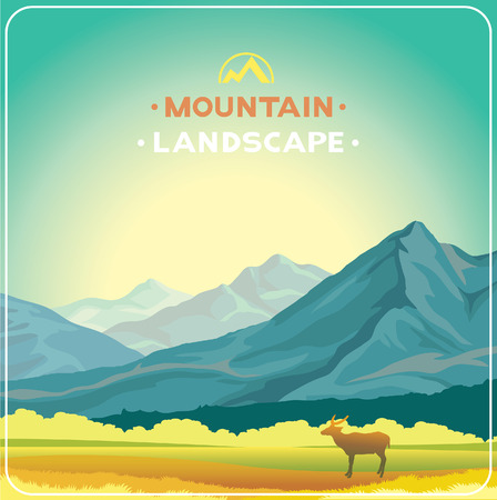 wild meadow: Mountain landscape with yellow meadow and silhouette of deer. Animal in wild nature. Summer illustration. Illustration