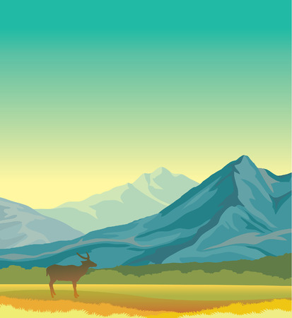 Summer landscape with blue mountains, green grass and silhouette of deer. illustration - animal in wild nature.