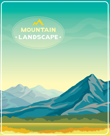 Natural summer illustration - mountain landscape with green grass and blue sky.