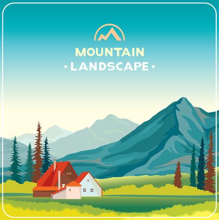 vida natural: ilustración natural. paisaje de montaña con la hierba verde y la casa. vida en el desierto.