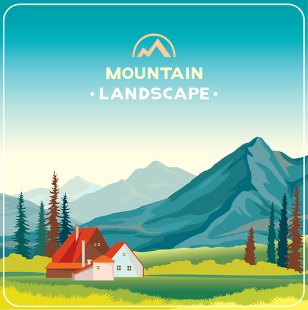 wilderness: natural illustration. Mountain landscape with green grass and house. Wilderness life.