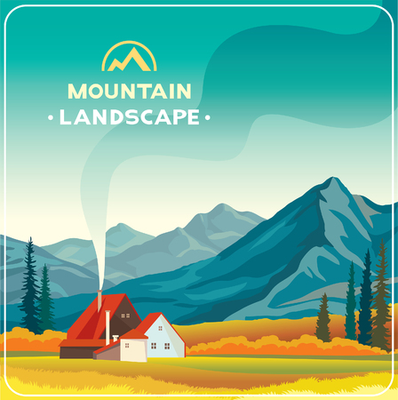Mountain landscape with yellow meadow and house. Natural autumn illustration. Wilderness life.