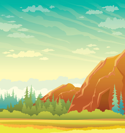 glade: Summer green edge with mountains and forest on a cloudy sky. Cartoon wild nature. landscape.