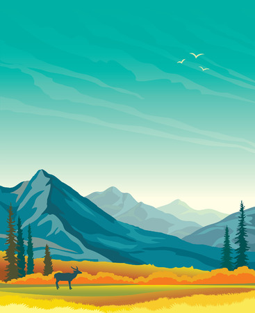 yellow landscape: autumn landscape with blue mountains, yellow forest and silhouette of deer. Animal in the wild nature. Illustration