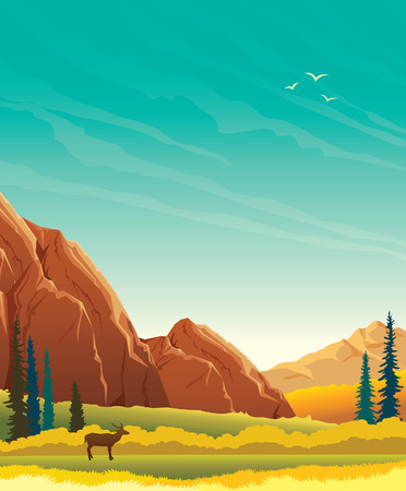 Kalme wilde aard - de herfstlandschap met bergen, bos en silhouet van herten.