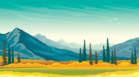 wild grass: Calm autumn panorama - green meadow with yellow grass and blue mountains. wild landscape. Beautiful nature. Illustration