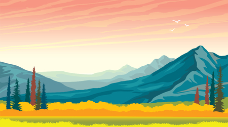 Morning pink sunrise with blue mountains and yellow grass. autumn panorama - wild nature.