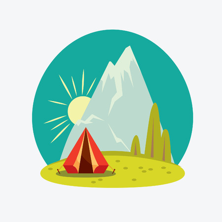 red sky: Vector cartoon natural landscape. Red travel tent and mountain on a blue sky.