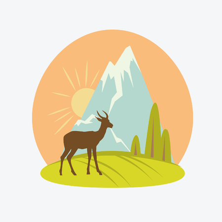 hoofed: Vector cartoon natural landscape. Silhouette of deer and mountain on the sky.