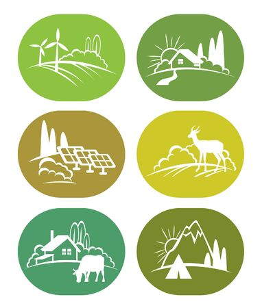 nature green: Set of eco icons - green nature, adventure with travel tent, wild deer, farm with cow and solar panel.