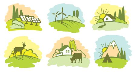 Collection of natural landscape. Cartoon illustration with eco icons - green nature, adventure with travel tent, wild deer, farm with cow and solar panel.