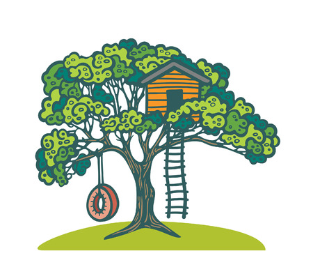 Cartoon green tree with children playhouse and swing tire. Vector illustration with playground. 向量圖像