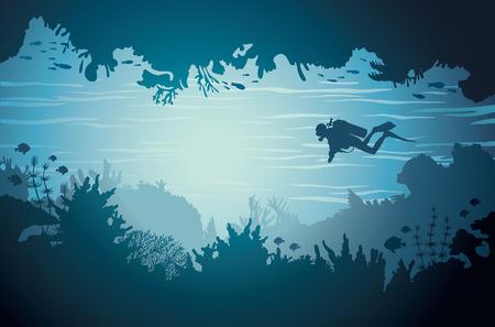 Silueta de la cueva del mar bajo el agua con buzo y el arrecife de coral. ilustración vectorial tropical.