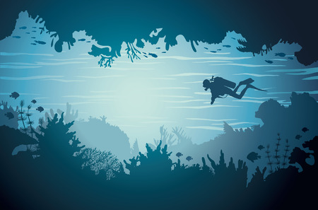 Silhouette of underwater sea cave with scuba diver and coral reef. Tropical vector illustration.