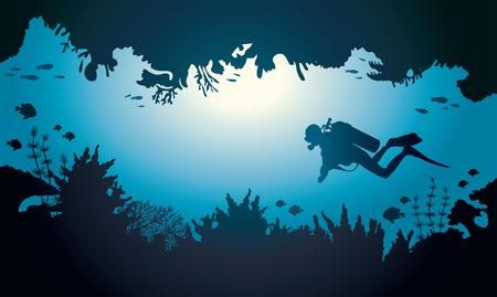 Silueta de buzo y el arrecife de coral con peces en un mar azul. Ilustración del vector con cueva submarina tropical.