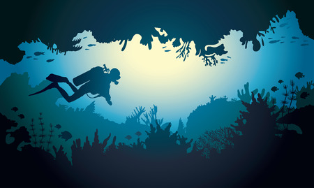 Underwater sea cave with scuba diver, coral reef and fish. Tropical vector illustration.