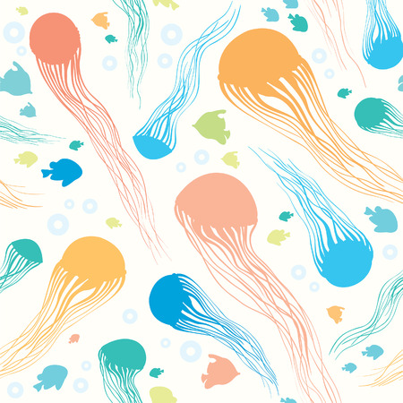 fish animal: Seamless pattern with underwater creatures. Vector animal wallpaper - jellyfish, bubbles and fish.