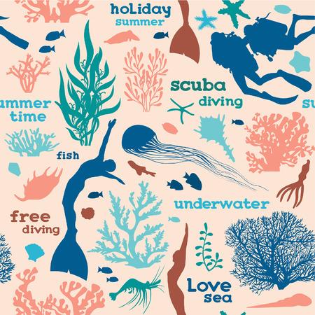 ダイバー、フリーダイバー、サンゴ、ピンクの背景に魚のシルエットのベクターのシームレスなパターン。水中の海の壁紙。 写真素材 - 62146601