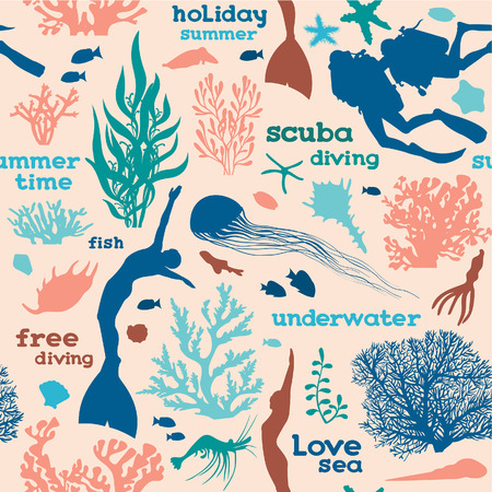 free diver: Vector seamless pattern with silhouette of divers, free divers, corals and fish on a pink background. Underwater sea wallpaper. Illustration