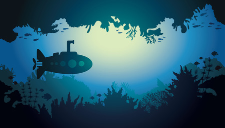 cartoon submarine: Cartoon vector sea illustration with silhouette of submarine and underwater cave. Illustration